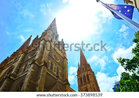 View of St Paulâ??s Cathedral in Melbourne, Australia. - stock photo