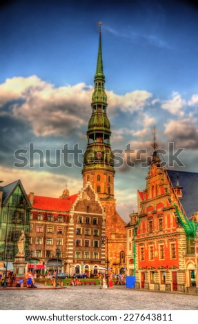 View of St. Peter Church in Riga, Latvia - stock photo