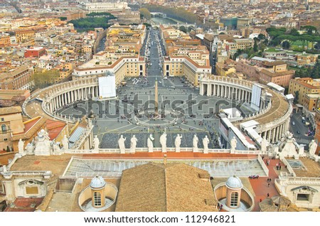 View of St. Peter's Square, as seen from the top of the Vatican, in Rome.