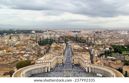 View of St. Peter Square and Rome from the Dome of St. Peter Basilica, Vatican - stock photo