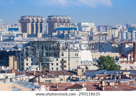 View of St. Petersburg and High-rise buildings on Moskovsky Prospect from the colonnade of St. Isaac's Cathedral - stock photo