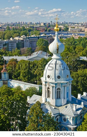 View of St. Petersburg from the bell tower of the Smolny Cathedral - stock photo