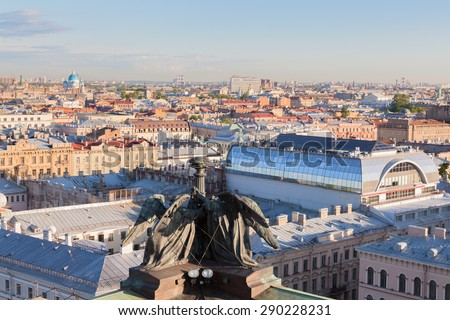 View of St. Petersburg from the colonnade of St. Isaac's Cathedral - stock photo