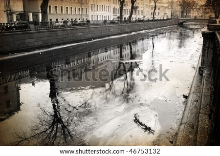 view of St. Petersburg made in artistic retro style - stock photo
