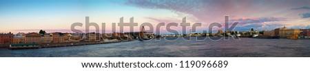 View of St. Petersburg. Neva river in morning - stock photo