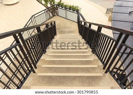 view of stairs step down close up - stock photo
