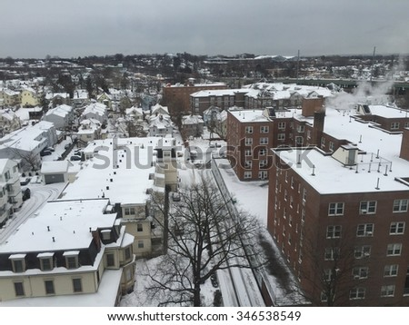 View of Stamford, Connecticut, in the winter - stock photo