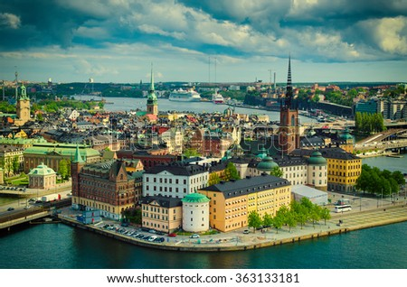 View of  Stockholm from the City Hall  tower, travel Sweden architecture vintage hipster background