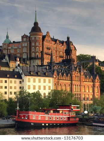 View of Stockholm in sunset light - stock photo