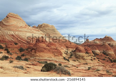 View of stone desert in Coyote Buttes North wilderness area, Arizona, USA