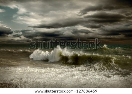 View of storm seascape (not poorlightning, it's drammatic light) - stock photo