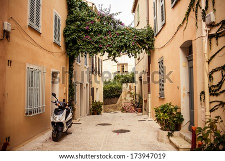View of street in Saint Tropez, French Riviera - stock photo