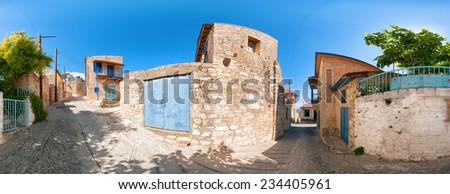 View of street in Vouni village. Cyprus. Limassol district - stock photo