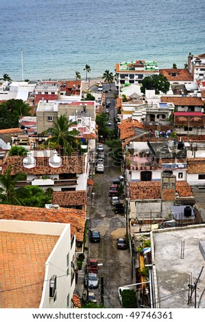 View of street leading to Pacific ocean in Puerto Vallarta, Mexico - stock photo