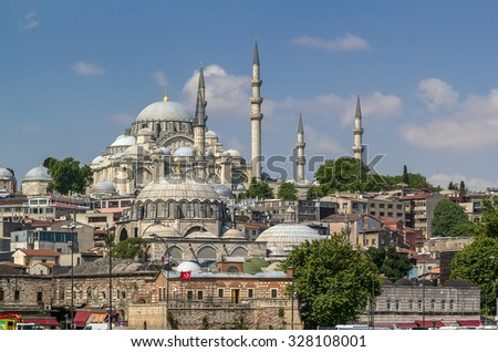 view of Suleymaniye Mosque and Rustem Pasha Mosque from Bosphorus , Istanbul - stock photo