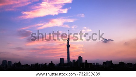 View of Sumida River with Tokyo Skytree at twilight