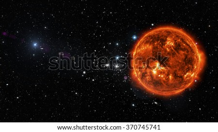 View of sun in outer space in a star field. Elements of this image furnished by NASA - stock photo