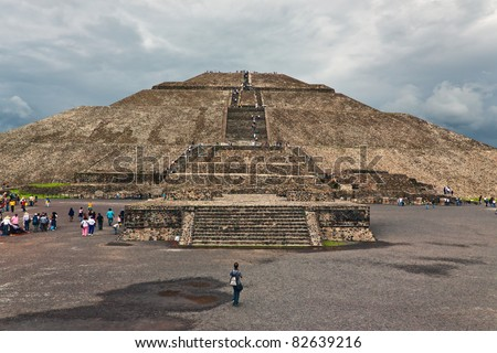 View of Sun Pyramids in Teotihuacan, Mexico - stock photo