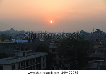 view of sun rise in Kathmandu city, Nepal - stock photo
