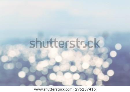 View of sunlight bokeh at sea water surface at nice summer day - stock photo