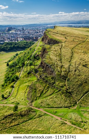 View of sunny Edinburgh from the top of Arthur Seats - stock photo