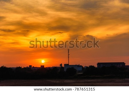 View of sunset time background.Thailand