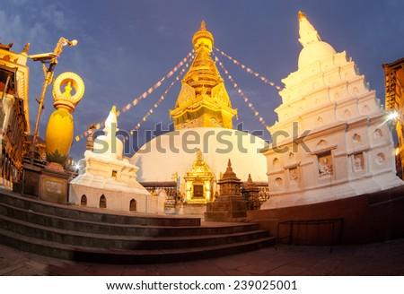 View of Swayambhunath at night, Kathmandu, Nepal  - stock photo