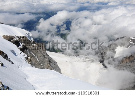 View of Swiss Alps from Jungfrau mountain.