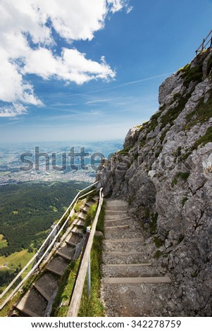 View of Swiss Alps from Mt. Pilatus and Lucerne lake (Vierwaldstattersee) in Lucerne, Switzerland