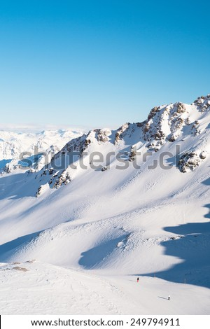 View of Swiss Alps from the Rothorn Peak, Lenzerheide, Switzerland - stock photo