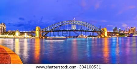 View of Sydney Harbor at night - stock photo