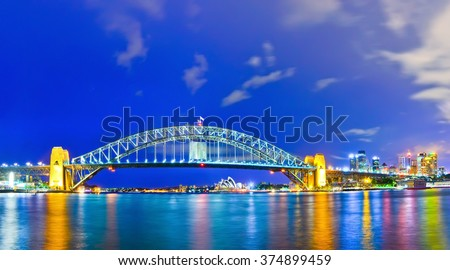 View of Sydney Harbor at night - stock photo