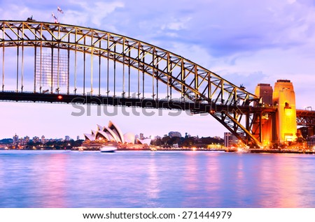 View of Sydney Harbor at twilight - stock photo