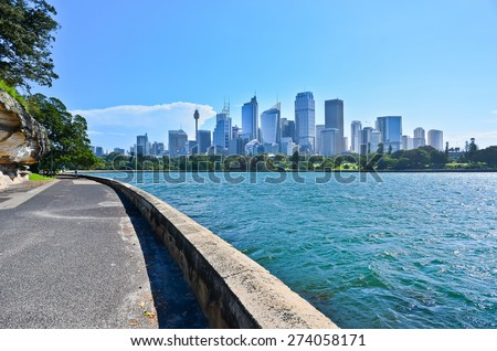 View of Sydney Harbor in a sunny day - stock photo