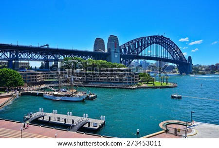View of Sydney Harbour and Harbour Bridge - stock photo