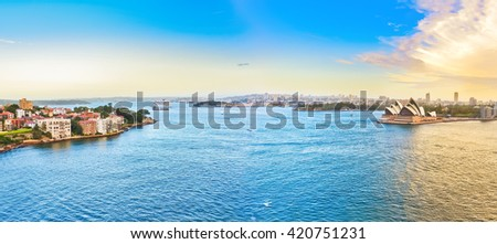 View of Sydney Harbour at sunset - stock photo