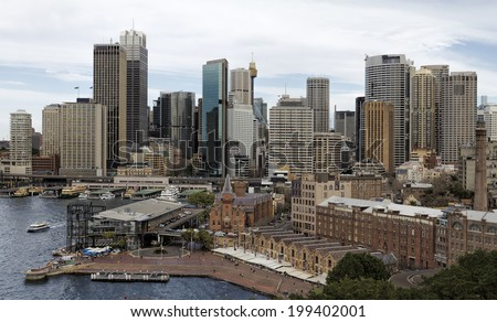 View of Sydney Skyline from the Sydney Harbour Bridge - stock photo