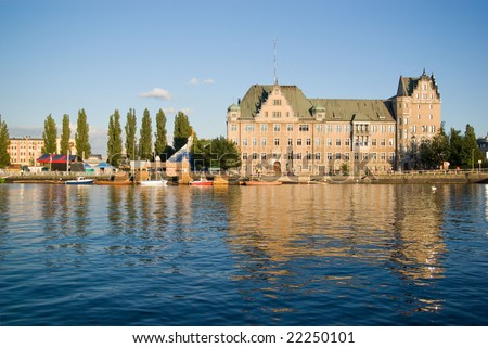 View of Szczecin port in Poland - stock photo