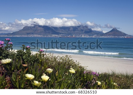 View of Table Mountain and the City of Cape Town from Bloubergstrand, South Africa - stock photo