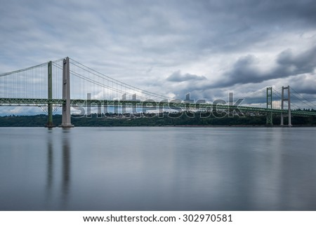view of Tacoma narrow bridge on cloudy day.Wa,usa