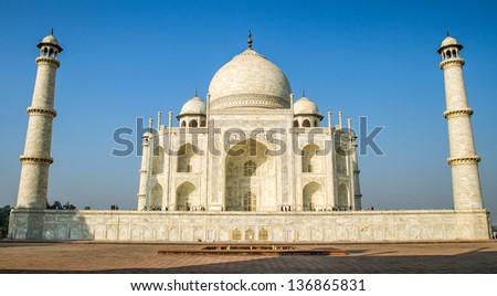 View of Taj Mahal, Agra, Uttar Pradesh, India - stock photo