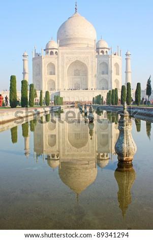 view of Taj Mahal at sunrise, Agra, Uttar Pradesh, India. - stock photo