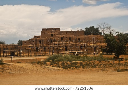 View of Taos Pueblo - the oldest occupied community in the United States - stock photo