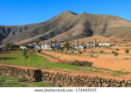 View of Tefia village and countryside field, Fuerteventura, Canary Islands, Spain