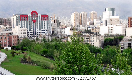 View of Tehran city - stock photo