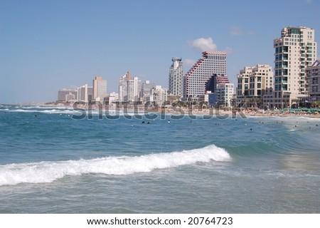 View of Tel-Aviv beech - stock photo