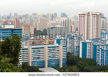 View of tens of skyscrapers and other buildings at Singapore