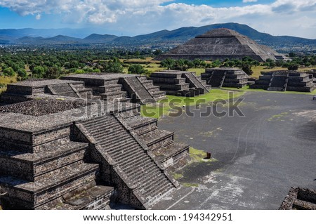 View of Teotihuacan ruins, Aztec ruins, Mexico - stock photo