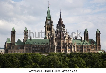 View of th Canadian Parliament buildings in Ottawa, Canada
