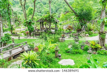 view of Thai style garden - stock photo